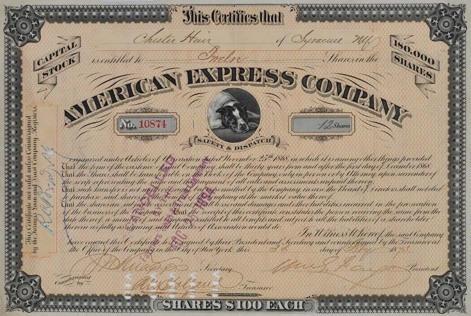 Stock Certificate Signed By William George Fargo 1818 1881
