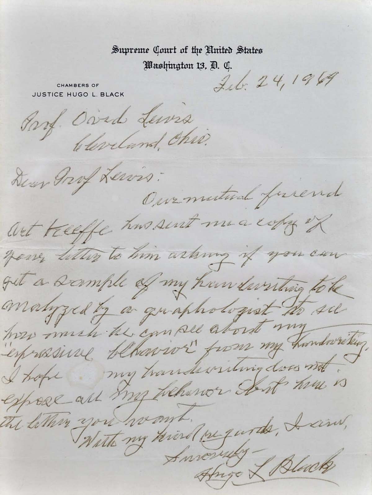LETTER HANDWRITTEN AND SIGNED BY SUPREME COURT JUSTICE