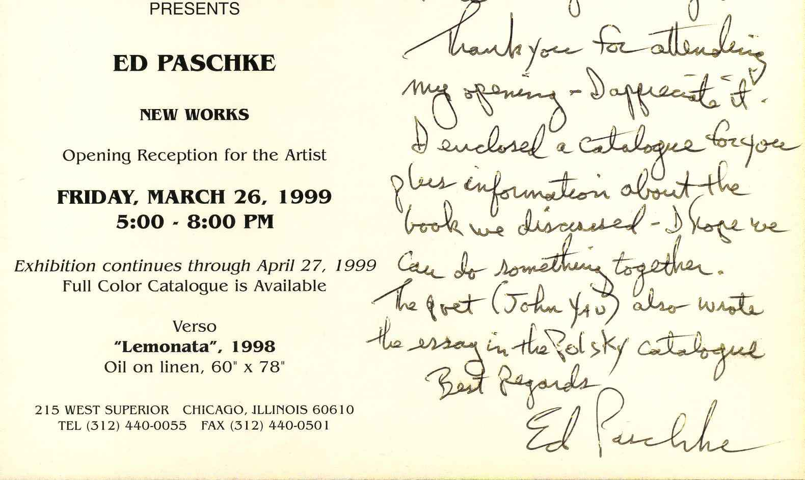 Ed paschke exhibition catalogue with an exhibition invitation exhibition catalogue with an exhibition invitation postcard handwritten and signed by ed paschke stopboris Gallery
