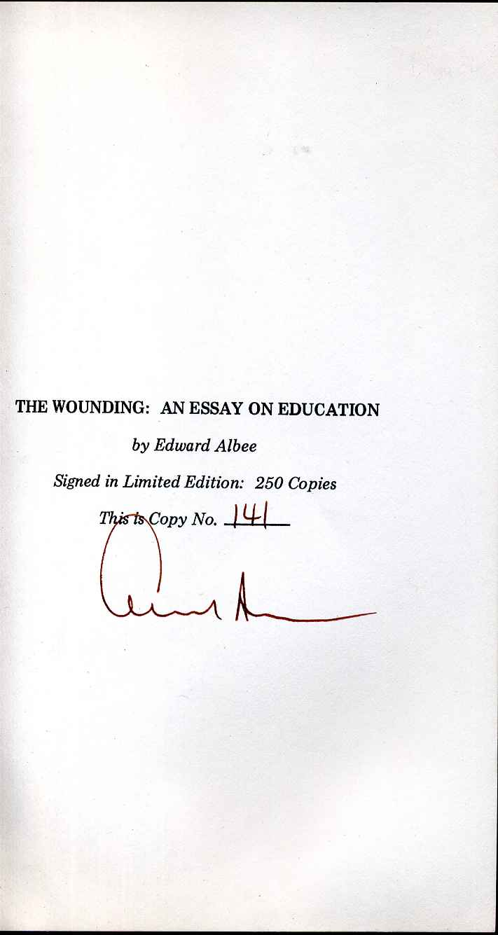 High School Application Essay Sample The Wounding An Essay On Education Limited Edition Signed By Edward Albee Barack Obama Essay Paper also Sample Essay Proposal The Wounding An Essay On Education Limited Edition Signed By  How To Write A Proposal Essay Outline