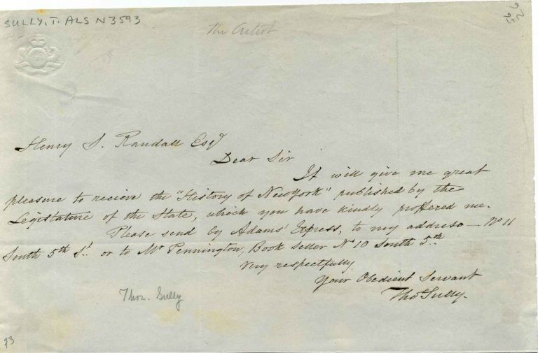 Note handwritten and signed by Thomas Sully (1783-1872). Thomas Sully.