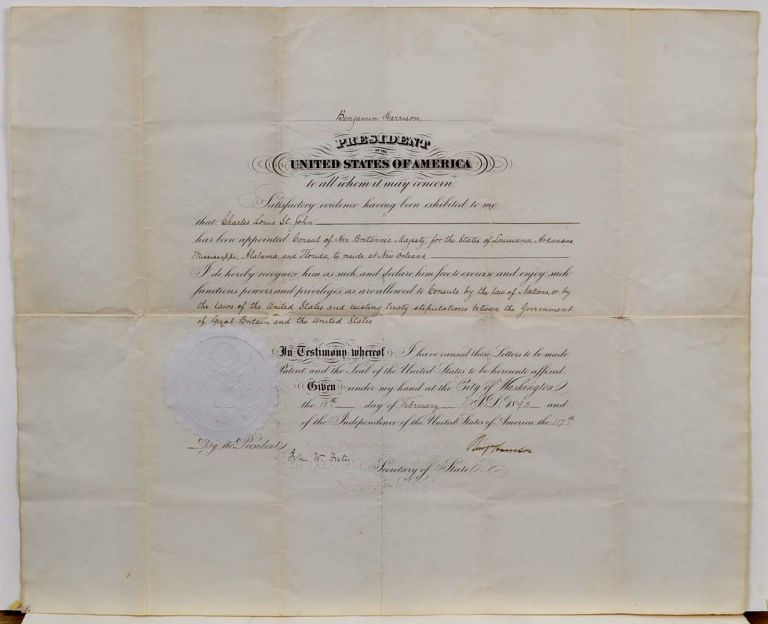 APPOINTMENT OF BRITISH CONSULATE FOR LOUISIANA, ARKANSAS, MISSISSIPPI, ALABAMA AND FLORIDA. Signed by Benjamin Harrison as President. Benjamin Harrison.