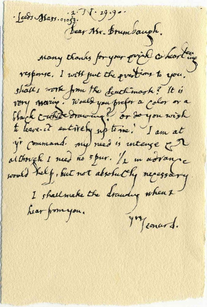 Collection of five related Autograph Letters Signed (ALS). Leonard Baskin.