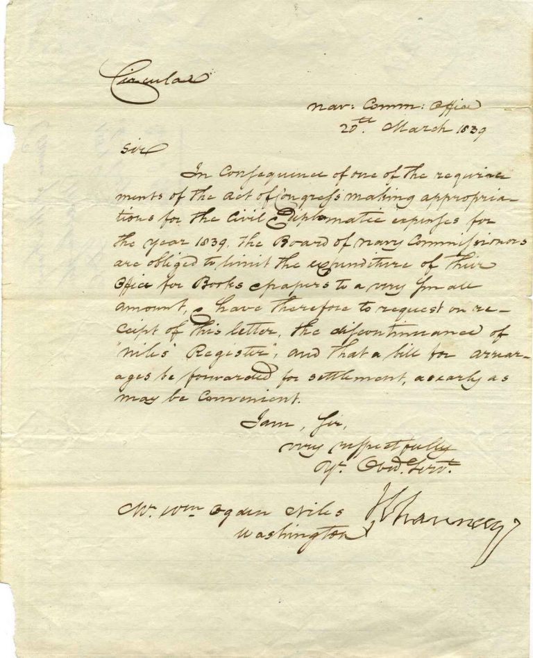 Letter handwritten and signed by Isaac Chauncey. Isaac Chauncey.