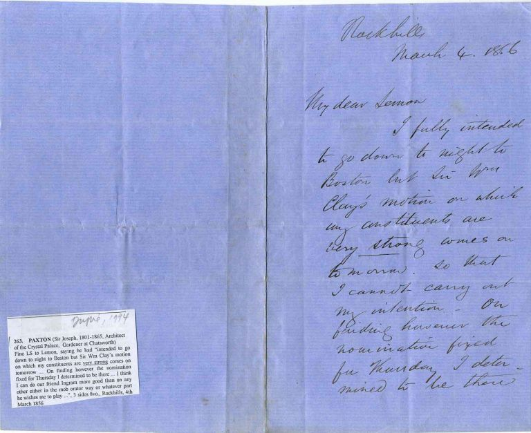 Autograph Letter Signed. Sir Joseph Paxton.
