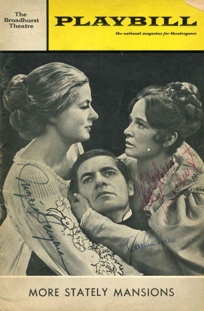 "Broadhurst Theatre Stagebill (Program); Eugene O'Neill's ""More Stately Mansions."" Signed by Ingrid Bergman, Arthur Hill and Colleen Dewhurst. Ingrid Bergman, Arthur Hill, Colleen Dewhurst."