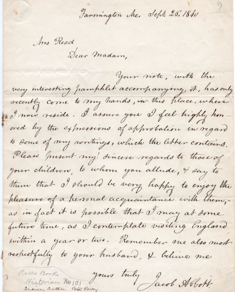Letter handwritten and signed by Jacob Abbott (1803-1879). Jacob Abbott.