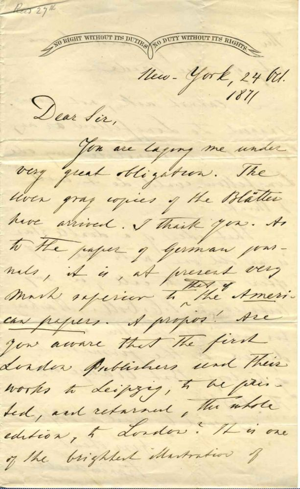 Two page letter handwritten and signed by Francis Lieber (1800-1872). Francis Lieber.