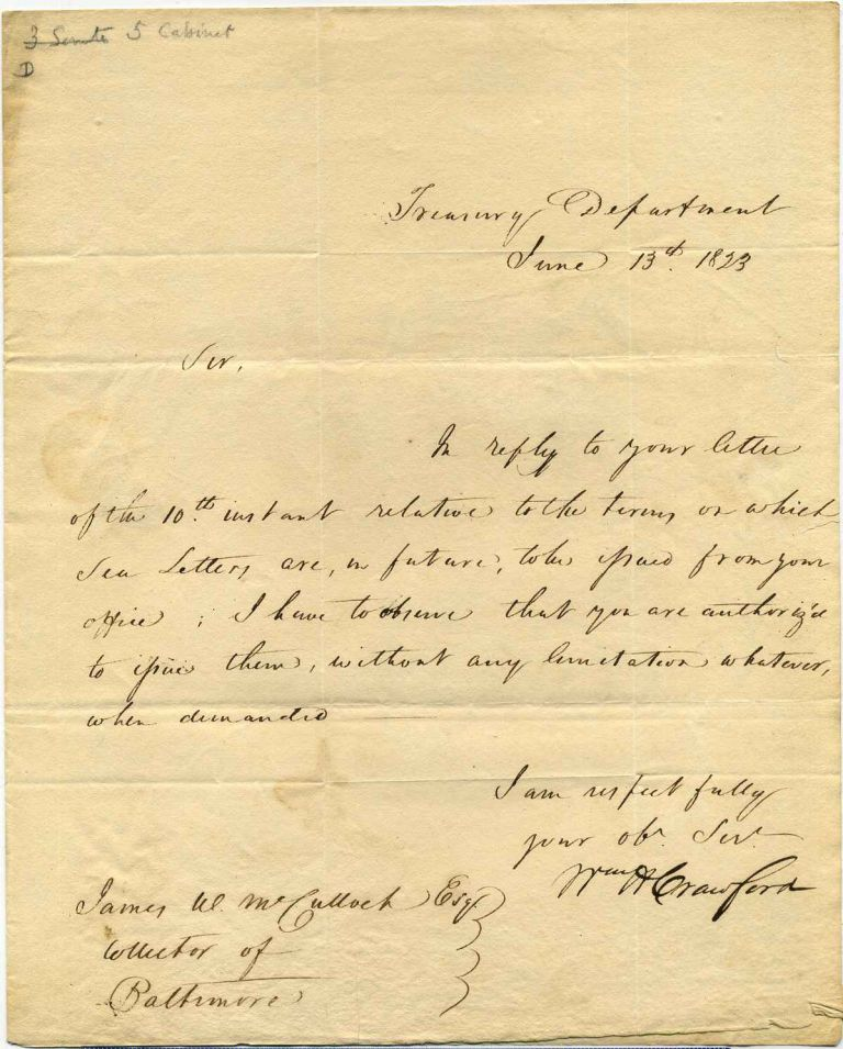 One page letter handwritten and signed by William H. Crawford (1772-1834). William H. Crawford.