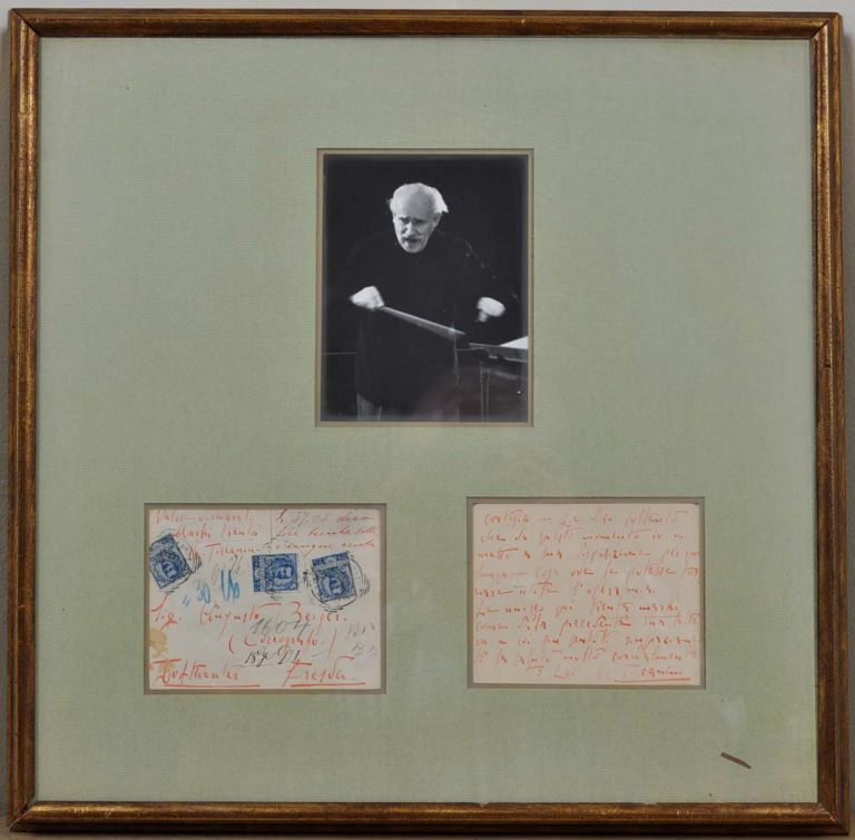 Two page note handwritten and signed by Arturo Toscanini. Arturo Toscanini.