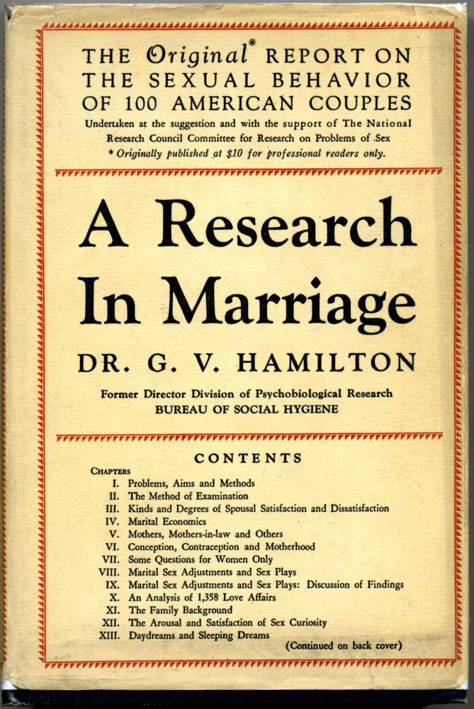 A RESEARCH IN MARRIAGE. G. V. Hamilton.