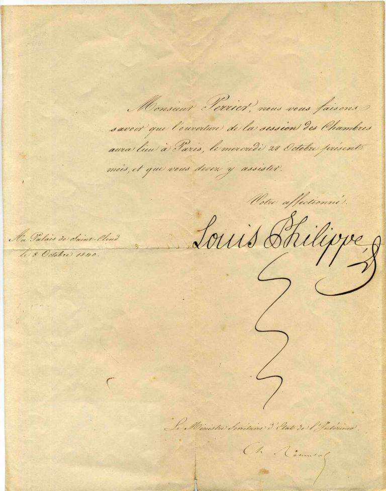 Document signed by Louis Philippe I (1773-1850) as King of France (1830-1848) during the period known as the July Monarchy. Louis Philippe.