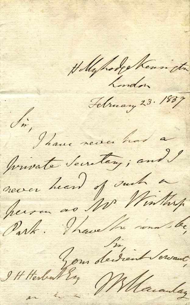 Letter handwritten and signed by Baron Thomas Babington Macaulay (1800-1859). Thomas Babington Macaulay.