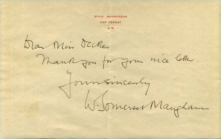 Photograph Signed By William Somerset Maugham And A Short Letter