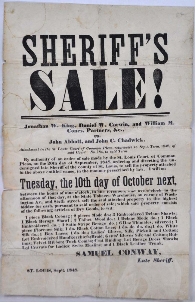 Sheriff's Sale! St. Louis 1848. [Broadside]. St. Louis Court of Common Pleas.