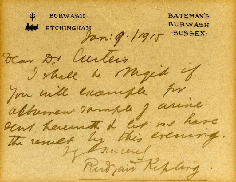 letter handwritten and signed by rudyard kipling