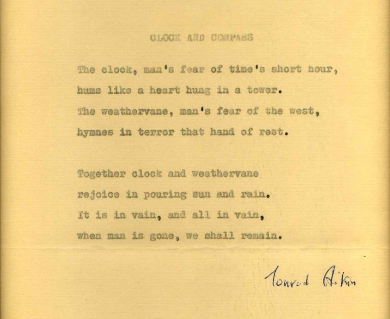 "Poem typed and signed by Conrad Aiken originally published in the 1942 work ""Brownstone Eclogues, and other Poems."" Conrad Aiken."