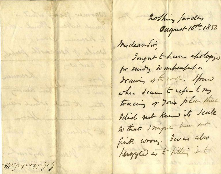 Letter handwritten and signed by architect George Gilbert Scott (1811-1878). George Gilbert Scott.