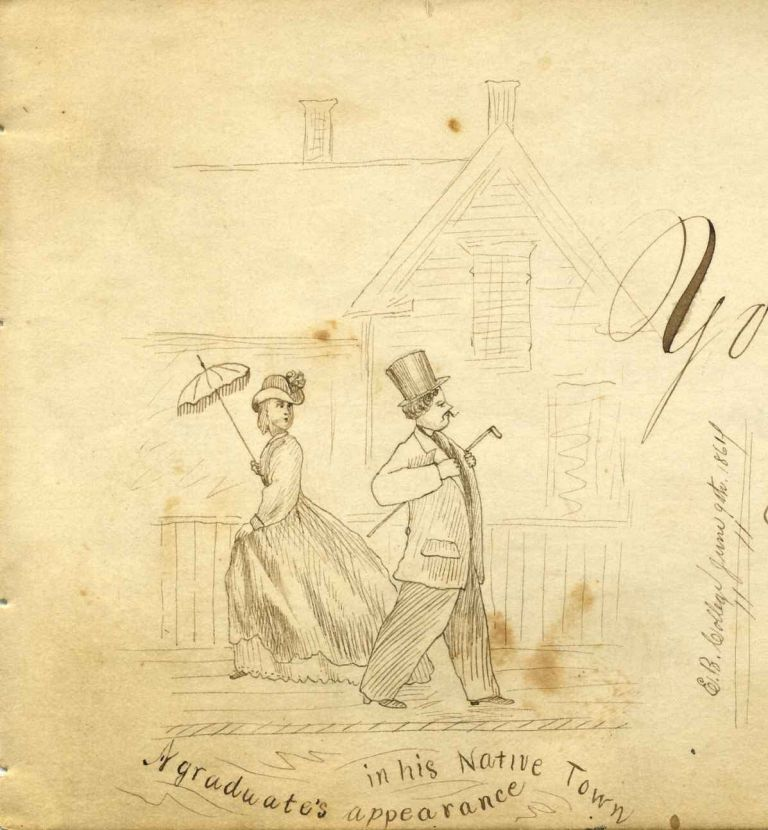 Autograph sentiment book from the 1860's with contributions by Eastman National Business College students (and others) including original artwork by renowned American artist Cassius M. Coolidge. Cassius Marcellus Coolidge.