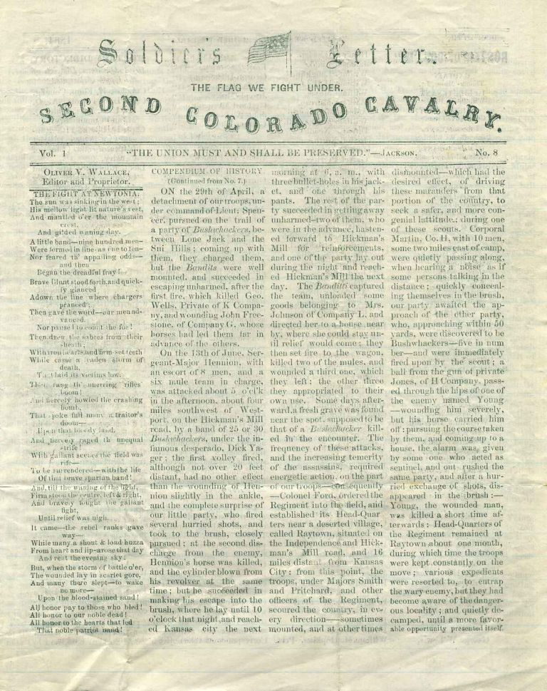 SOLDIER'S LETTER. Second Colorado Cavalry. Vol. 1. No. 8. December 27th, 1864. Oliver V. Wallace.