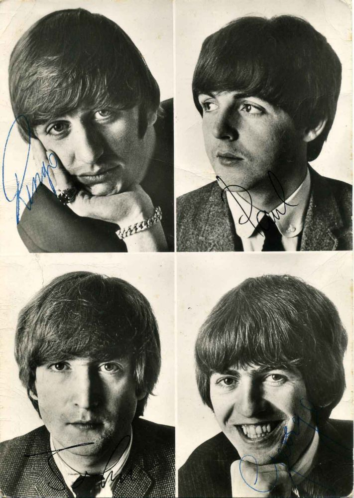 Beatles Fan Club of America. Promotional photo signed by Ringo Starr, Paul McCartney, George Harrison, and John Lennon. Beatles, Ringo Starr, Paul McCartney, George Harrison, John Lennon.