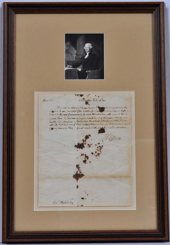 Letter handwritten and signed by Thomas Jefferson while President. Thomas Jefferson.