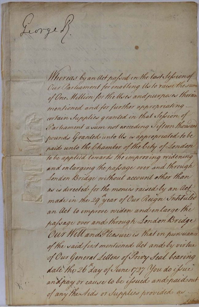 King's Warrant (document) relating to London Bridge signed by King George II. King George II.