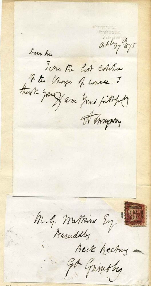 Letter handwritten and signed by Alfred Lord Tennyson (1809-1892). Alfred Lord Tennyson.