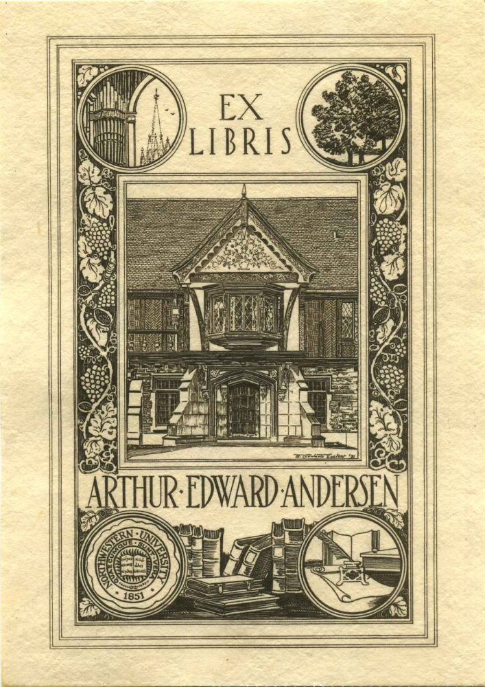 Bookplate of Arthur Edward Andersen. Arthur E. Andersen.