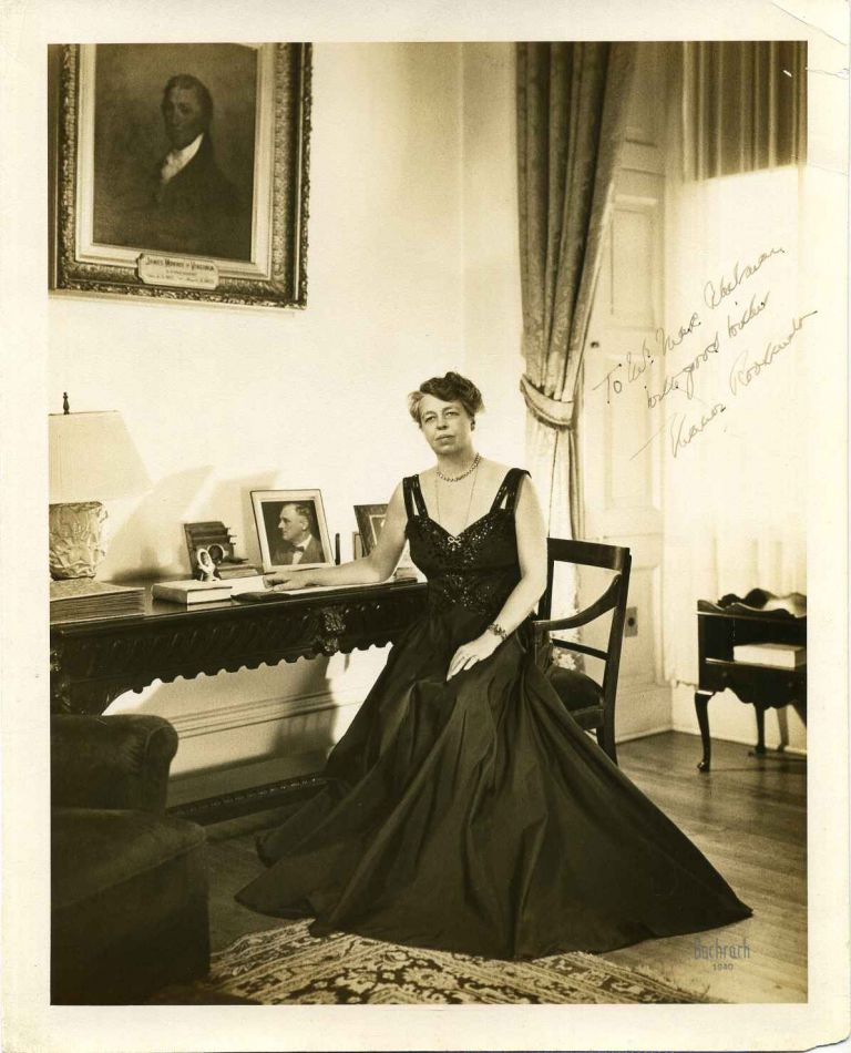 Photograph. Signed and inscribed by Eleanor Roosevelt. Eleanor Roosevelt.