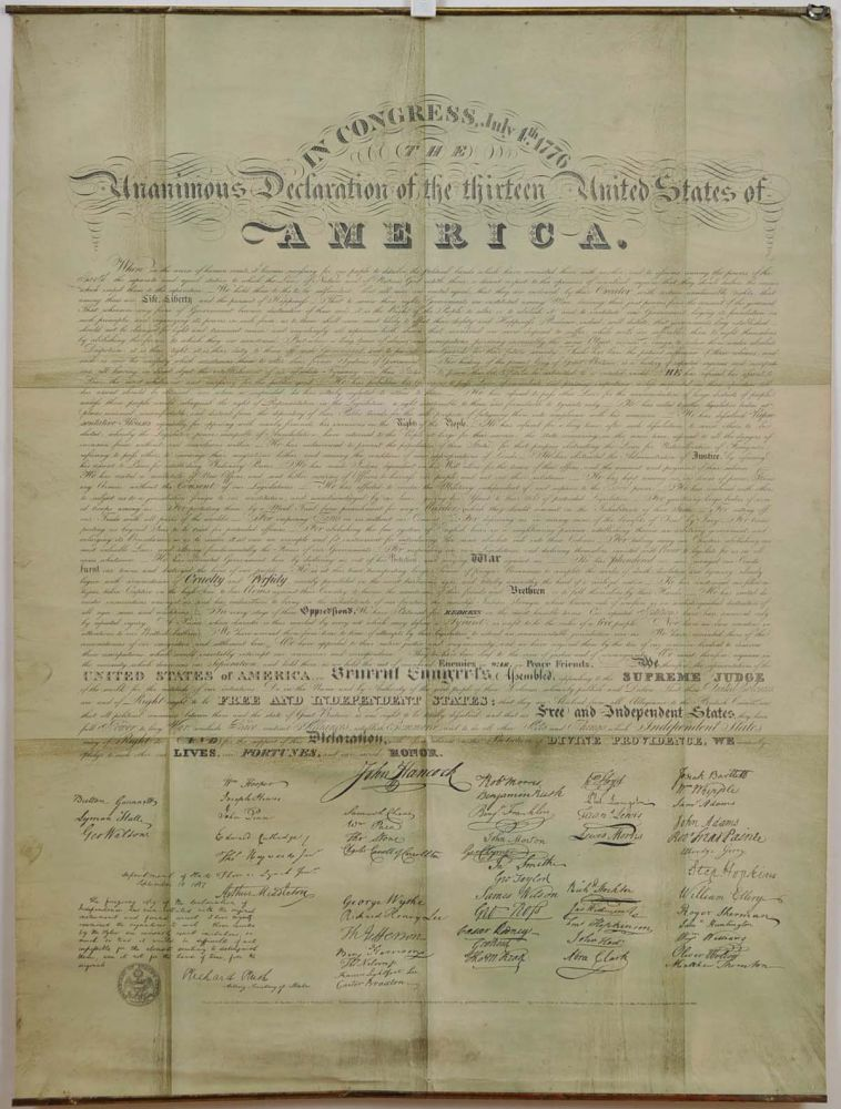 The Unanimous Declaration of the Thirteen United States of America in Congress July 4th 1776. THE GILES-LIBERTY FACSIMILE OF THE DECLARATION OF INDEPENDENCE. Thomas Jefferson, John Adams, Benjamin Franklin.