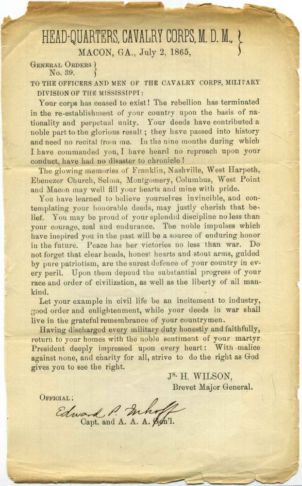 General Orders No. 39. Cavalry Corps M.D.M. Military Division of the Mississippi. James Harrison Wilson, Edward P. Enhoff.