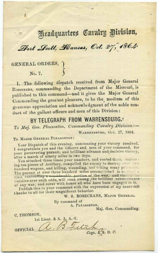 General Orders No. 7. Cavalry Division of the Missouri. Signed by A.B. Fitch. A. B. Fitch, W. S. Rosecrans.