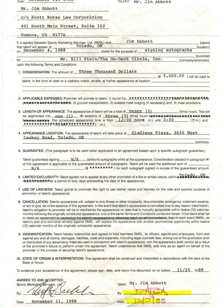 Appearance Agreement [Contract] signed by Jim Abbott. Jim Abbott.