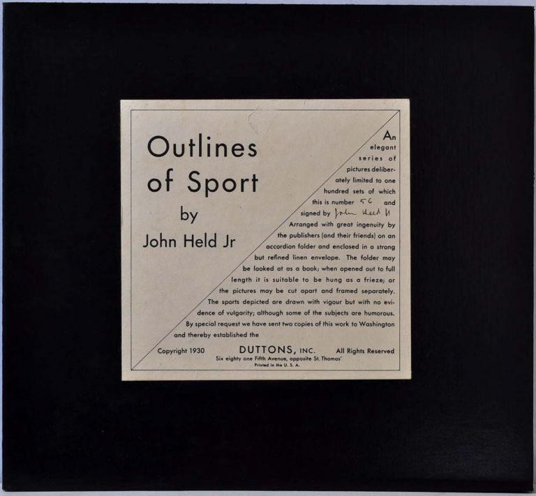 OUTLINES OF SPORT. Limited edition of 100 copies signed by John Held Jr. John Held, Jr.