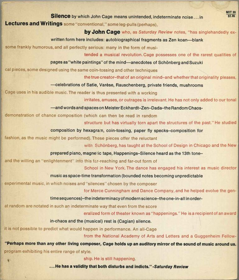 SILENCE. Lectures and Writings by John Cage. John Cage.