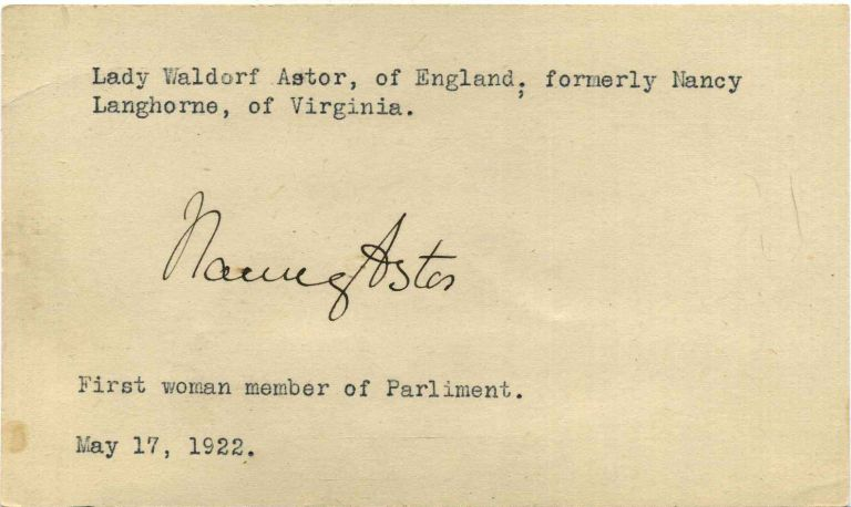 Autograph of Nancy Astor (1879-1964). Nancy Astor, Lady Waldorf Astor, Nancy Langhorne.