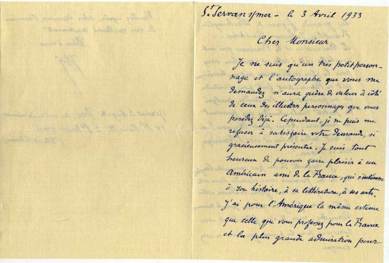 Letter handwritten and signed by Elie Augustin Boe (1853-1939). Elie Augustin Boe.