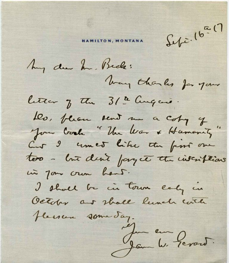 Letter Handwritten and signed by James W. Gerard (1867-1951). James W. Gerard.