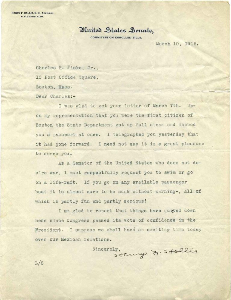 Typed letter signed by Henry French Hollis (1869-1949). Henry F. Hollis.