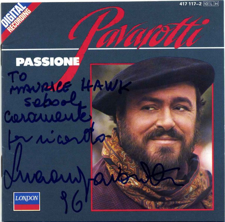 Compact Disc recording with printed insert signed by Luciano Pavarotti. Luciano Pavarotti.