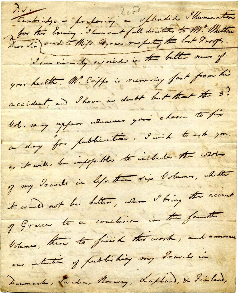 Handwritten and signed letter from E. D. Clarke to his publisher William Davies. Edward Daniel Clarke.