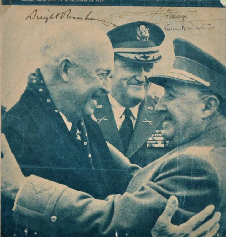 Newspaper Photograph Signed by Dwight D. Eisenhower, Franco and Vernon Walters. Dwight D. Eisenhower, Francisco Franco Bahamonde.