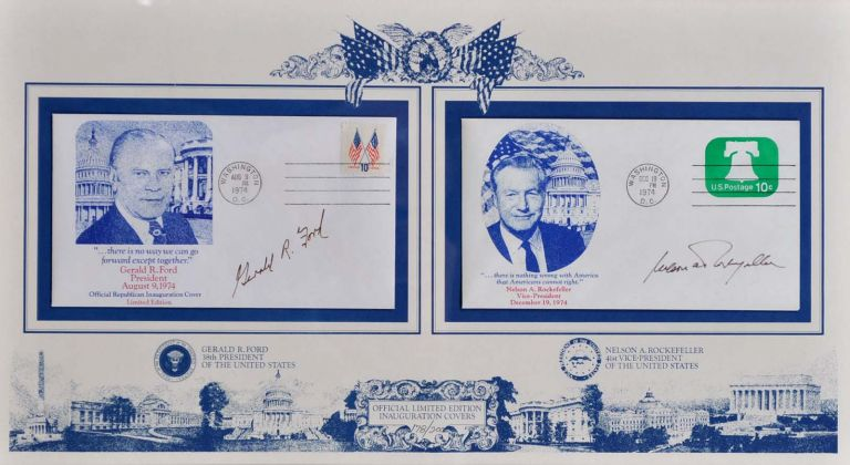 First Day Covers. Signed by Gerald R. Ford while President and Nelson A. Rockefeller as Vice-President of the United States of America. Gerald R. Ford, Nelson A. Rockefeller.