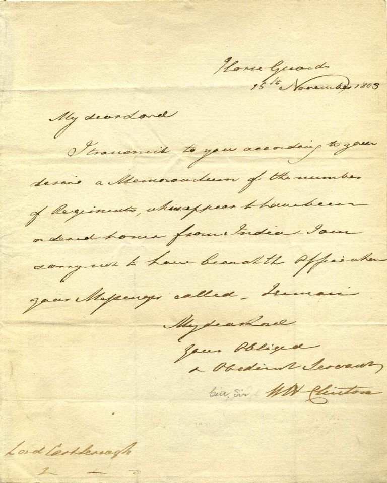 Autograph letter handwritten and signed by Sir William Henry Clinton (1769-1846). Sir William Henry Clinton.