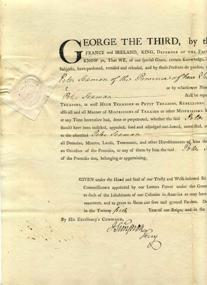Partly Printed Document Signed by Sir Henry Clinton (1738-1795). Sir Henry Clinton.