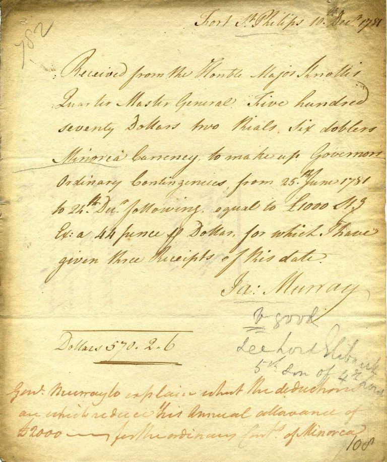 Document handwritten and signed by General James Murray (1719-1794). General James Murray.