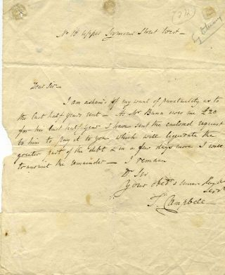 Note handwritten and signed by Thomas Campbell. Thomas Campbell