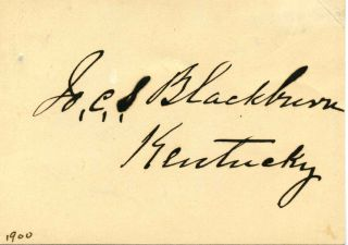 Small card signed by Joseph C. S. Blackburn. Joseph C. S. Blackburn