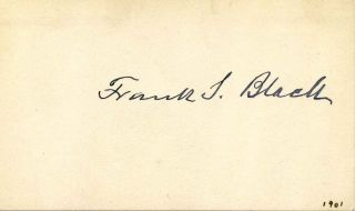 Small card signed by Frank S. Black. Frank S. Black